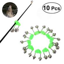 10PCS Fishing Rod Alarm Clip Style Dual Alert Bells Rod Clamp Tip Clip