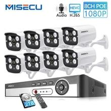 MISECU 8CH 1080P HDMI POE NVR Kit CCTV Security System 2MP IR Outdoor Audio Record IP Camera Waterproof P2P Video Surveillance