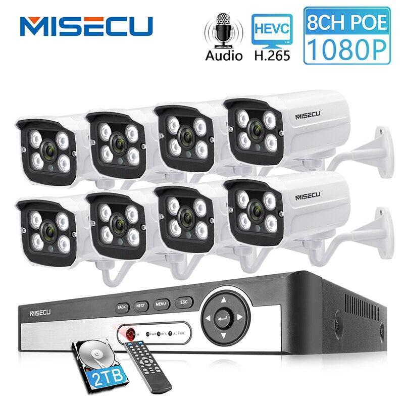 MISECU 8CH 2MP POE NVR kit Câmera de 1080 P Onvif FTP Ao Ar Livre 1080 P IP PoE Câmera Gravação de Áudio CCTV sistema de Kit de Vigilância Por Vídeo