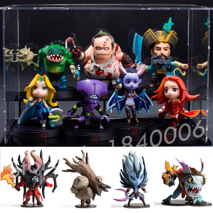 ФОТО 11pcs/Set DOTA 2 Figure Characters heros Kunkka Lina Pudge Queen Tidehunter CM FV PVC Action Figures Collection dota2 Toys gift