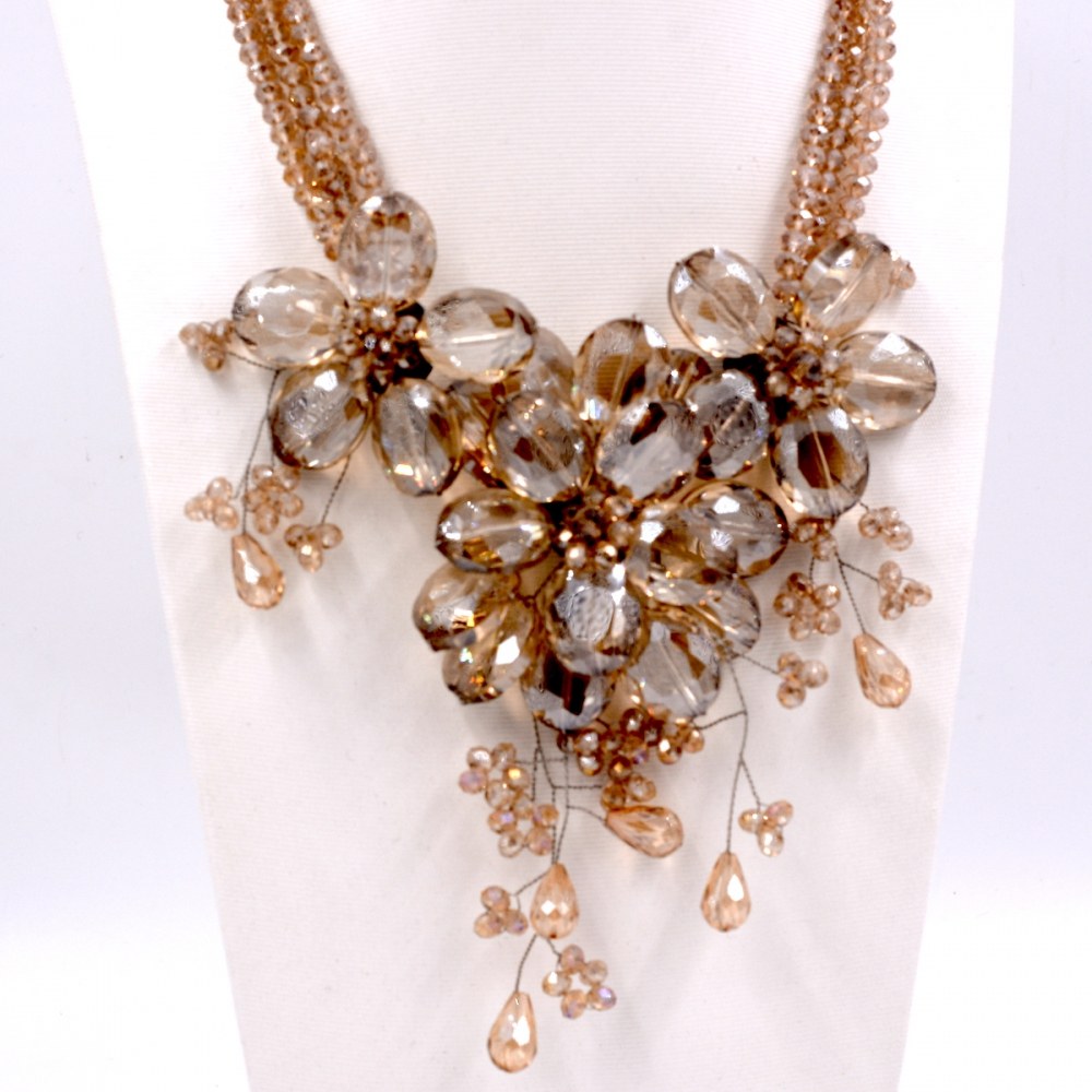 Noble Female Jewelry Champagne crystal bib chokers flower necklace Jewelry Hot Sell hyperset noble hs6012