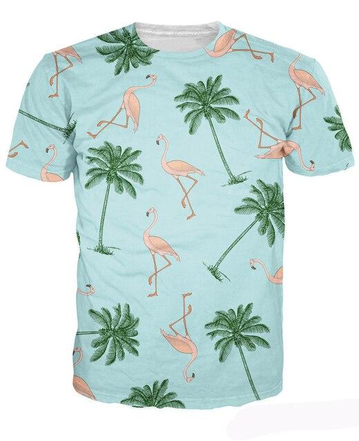 Flamingos and Palm Trees T-Shirt Fashion Clothing Summer Style t shirt Casual tops Women Men tees camisetas camisas