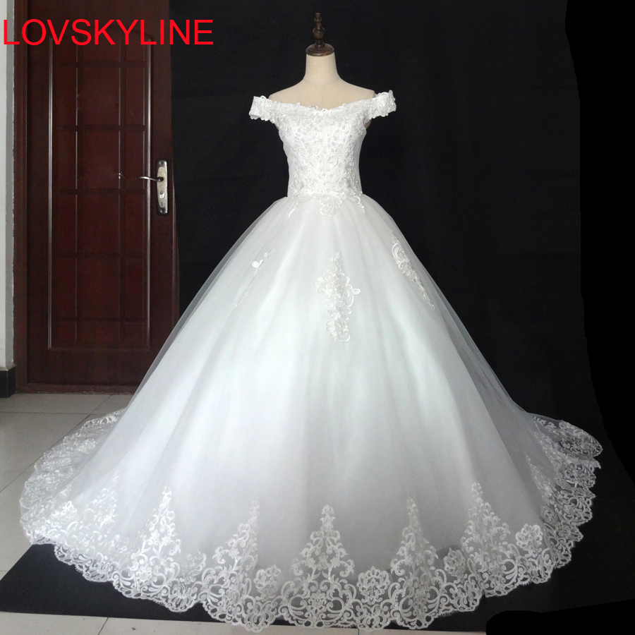 Real Pictures Ball Gown Bridal Dress Vintage Custom Plus Size Lace Wedding Dress 2018 Princess With Sleeve