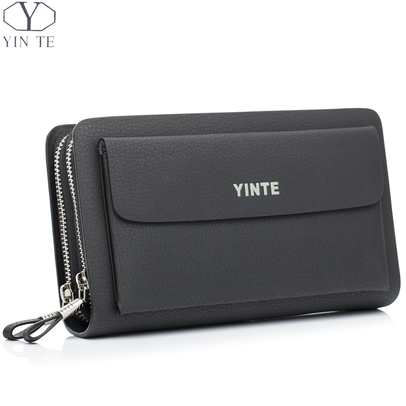 YINTE Men's Clutch Bags Leather Men Wrist Bags Clutch Handbag Organizer Wallet Phone Purses Card Holder Men's Black Bag T030-2 спрей macadamia healing oil spray объем 60 мл