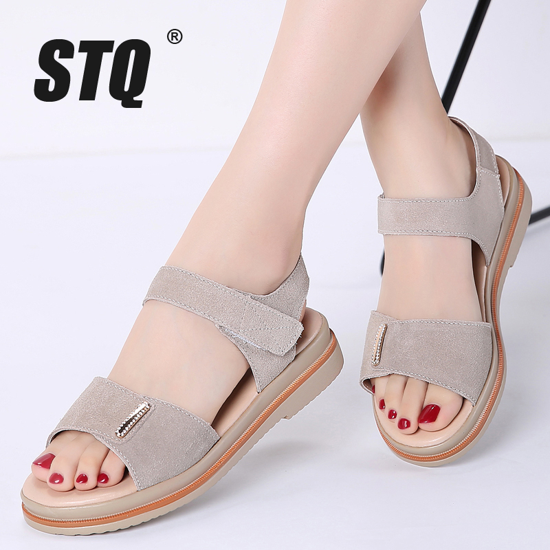 STQ Platform Sandals Ankle-Strap Ladies 622 Suede