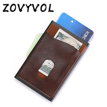 ZOVYVOL Metal Credit Card Holder Automatic Elastic Vintage Aluminum Wallet PU Leather Antitheft Blocking Pass Port