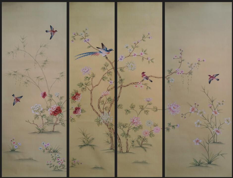 Customized decoration Hand painted silk wallpaper painting flowers with birds hand-painted wall paper many arts/backing optional iarts aha072962 hand painted thick texture of knife painting trees oil painting red 60 x 40cm