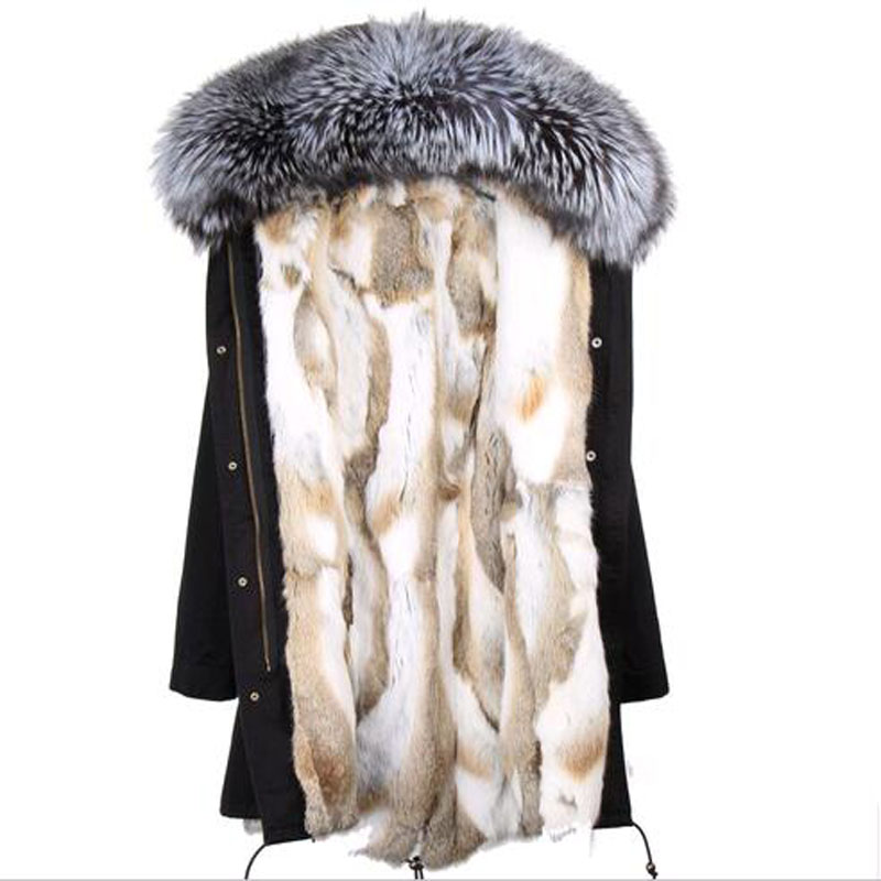 2017 parkas long winter jacket new fashion woman luxurious raccoon fur collar hooded coat with thick real rex rabbit fur liner faux rabbit fur brown mr short jacket sleeveless with big raccoon collar fall coat