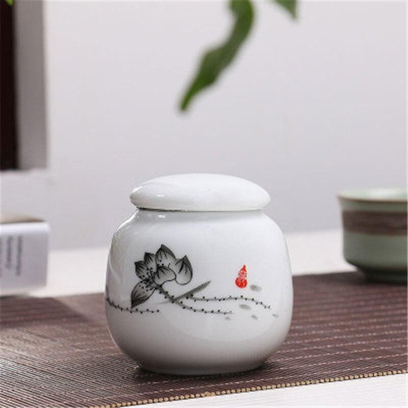 Ceramic Mini Trumpet Tea Jar Puer Tea Tank Portable Tea Storage Box Gift Box Kitchen Storage Tank Porcelain Cans Exquisite Jars