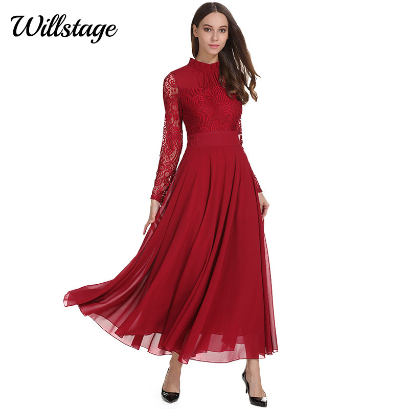 Willstage Long Sleeve Dress Women Red Lace Chiffon Long Maxi dresses Floral  Printed Vestidos Party Wear Vintage New 2018 Spring-in Dresses from Women s  ... ee183c6684b2