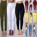 2016 sexy cintura alta elástica jeans ajustados de color caramelo de la manera Ocasional Delgado Delgado multicolor pantalones lápiz salvajes vaqueros casuales A66