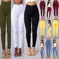 2016 sexy high waist elastic tight jeans Casual fashion candy color Slim thin multicolor pencil pants wild casual jeans A66