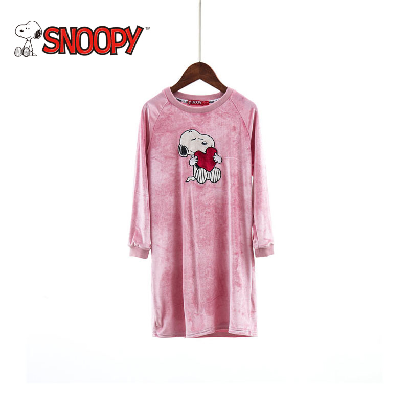 Snoopy Brand Pure Color O-neck Girls Princess Dresses 2018 Cotton Long Sleeve Cartoon Girl Cute Casual Kids Clothes 4-10y little maven brand new girls autumn spring long sleeved o neck fashion rabbits printed cotton cute casual dresses
