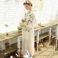 Beautiful Camellia Embroidery Flower Loose Powder Long Sleeve Sunscreen One Piece Dress