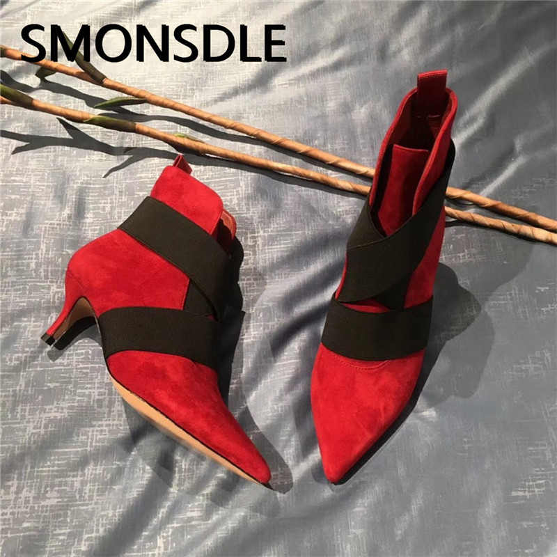 SMONSDLE New Style Black Red Suede Women Ankle Boots Pointed Toe Slip On Thin High Heel Women Autumn Winter Boots Shoes Woman smonsdle black stretch knitting slip on women mid calf boots sexy pointed toe thin heel women spring autumn boots shoes woman