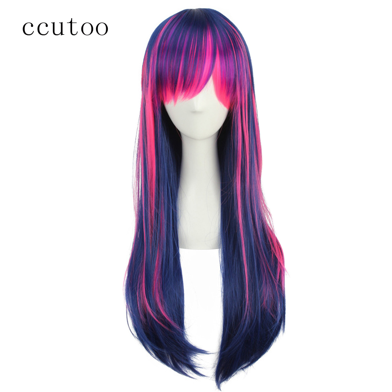 ccutoo 65cm Blue Pink Purple Mix Long Straight Synthetic Wig With Bangs Cosplay Wig For Halloween Costume Party Wigs