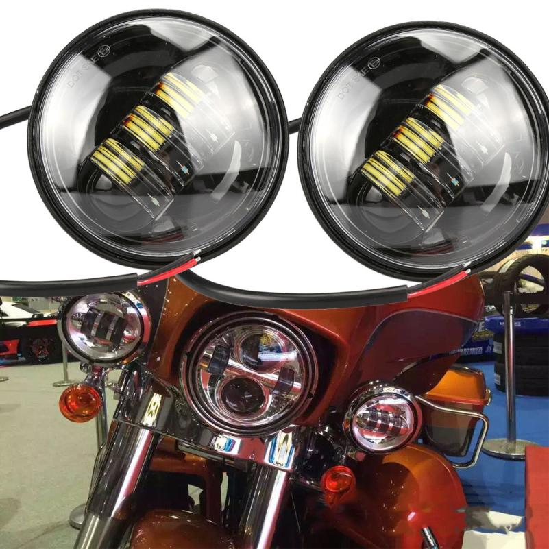 2018 hot sale New 2x 4.5inch Black LED Spot Fog Passing Light Lamp For Harley Davidson Motorcycle Vicky
