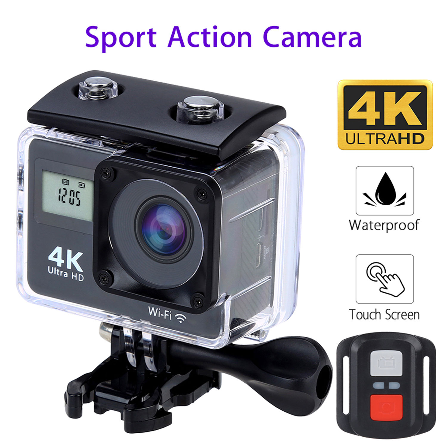 BOBLOV 4K 1080P Wifi Sport Action Camera Touch Screen Helmet Waterproof DVR HDMI DV Video Recorder Dual Screen + Remote Control pro4 built in wifi 2 7k screen hd 1080p waterproof action camera 14mp sport camera dvr dv video camcorder black silver