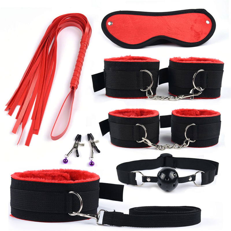 Image 3 - 11 Pcs Sex Toys for Woman Adult Games Handcuffs Whip Mouth Gag Rope Silicone Butt Plug Bdsm Bondage Set Bead Anal Plug Vibrators    -