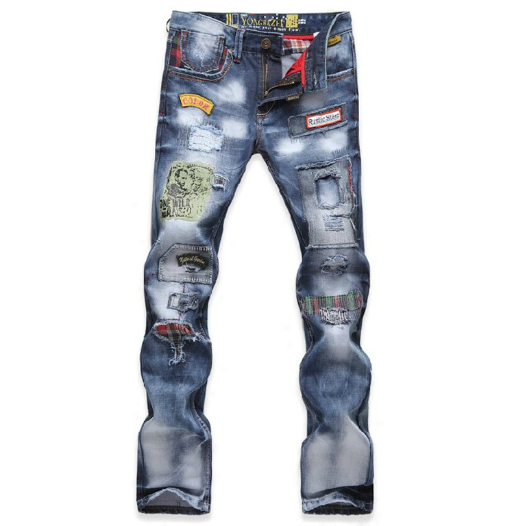 Hi-Street Mens Ripped Rider Biker Jeans Motorcycle Slim Fit Washed Blue Moto Denim Pants Joggers For Skinny Men Hole pants jeans