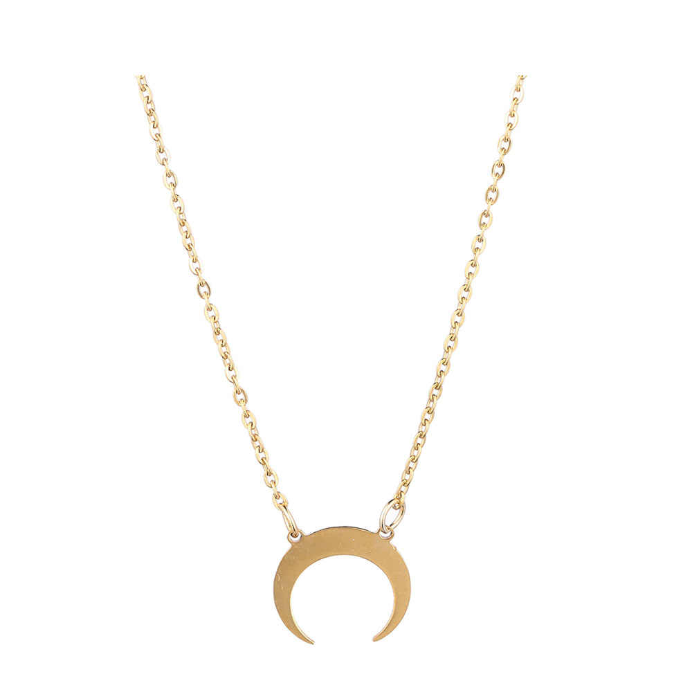 Simples boi chifre lua colar de aço inoxidável meia lua charme pingente colar para as mulheres fina corrente colar moda jóias presente