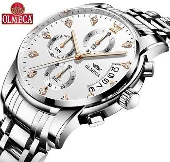 2018 OLMECA Men's Fashion Sport Watches Men Quartz Analog Date Clock Man Leather Military Waterproof Watch Relogio Masculino