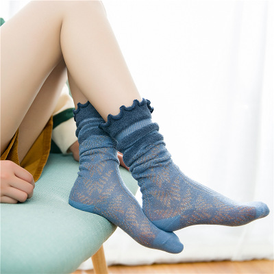 Women Socks 2019 Autumn New Mesh Comfortable Lovely Cotton Student Solid Color Korea Style Hollow Lace Princess Socks Women