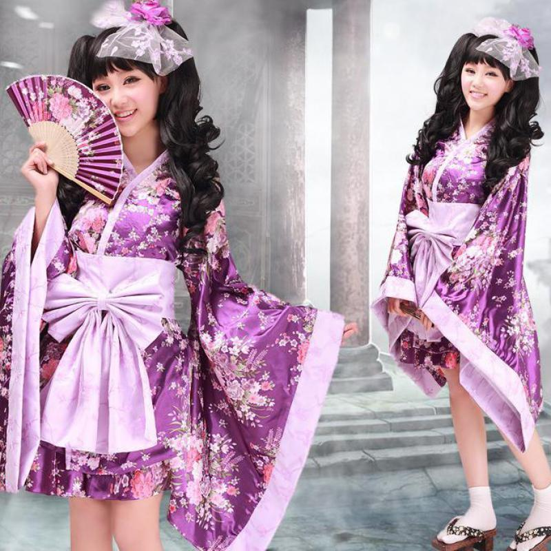 Vintage Traditional Female Silk Rayon Kimono Yukata With Obi Sexy Purple Japanese Women Evening Dress Halloween Cosplay Costume