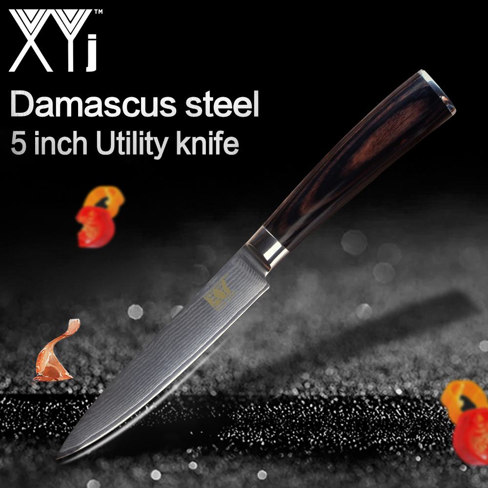 XYj Kitchen Knives New Arrival 2019 Damascus Steel Utility Knife Beautiful Pattern High Grade Color Wood Handle Kitchen ToolsXYj Kitchen Knives New Arrival 2019 Damascus Steel Utility Knife Beautiful Pattern High Grade Color Wood Handle Kitchen Tools