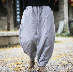 Image 3 - Женские свободные штаны YoYiKamomo, плотные теплые шаровары с хлопковой подкладкой, Однотонные эластичные брюки большого размера, 2018