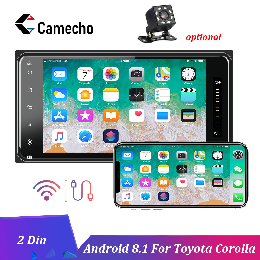 Camecho Android 8.1 Car Multimedia Player 2Din Auto Radio Stereo GPS Car Radios Bluetooth