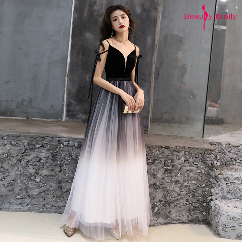 Beauty Emily Sexy Sling V Neck Gradient Color Evening Dresses Sleeveless Tulle Formal Party Gown Open Back Robe De Soiree Summer