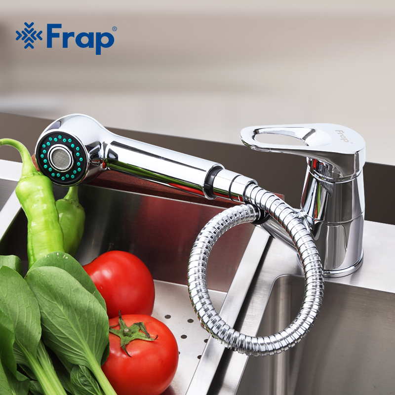Frap Modern Kitchen Faucet Deck Mount Kitchen Water Taps Hot and Cold Water Single Handle Crane Taps Stretch Outlet Pipe F6013 luxury pull out kitchen faucet deck mount kitchen water taps with hot and cold water single handle crane taps