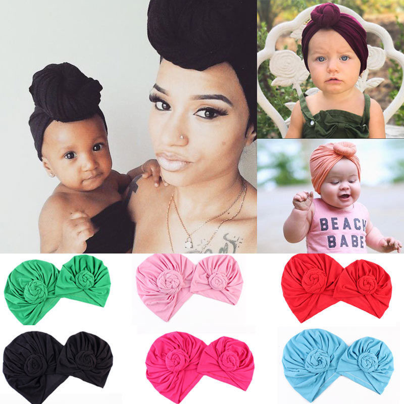 NEW IPCS Winter Warm Mom&Daughter Newborn Baby Boy Girl Flower Hats Crochet Knit Hairball Beanie Cap
