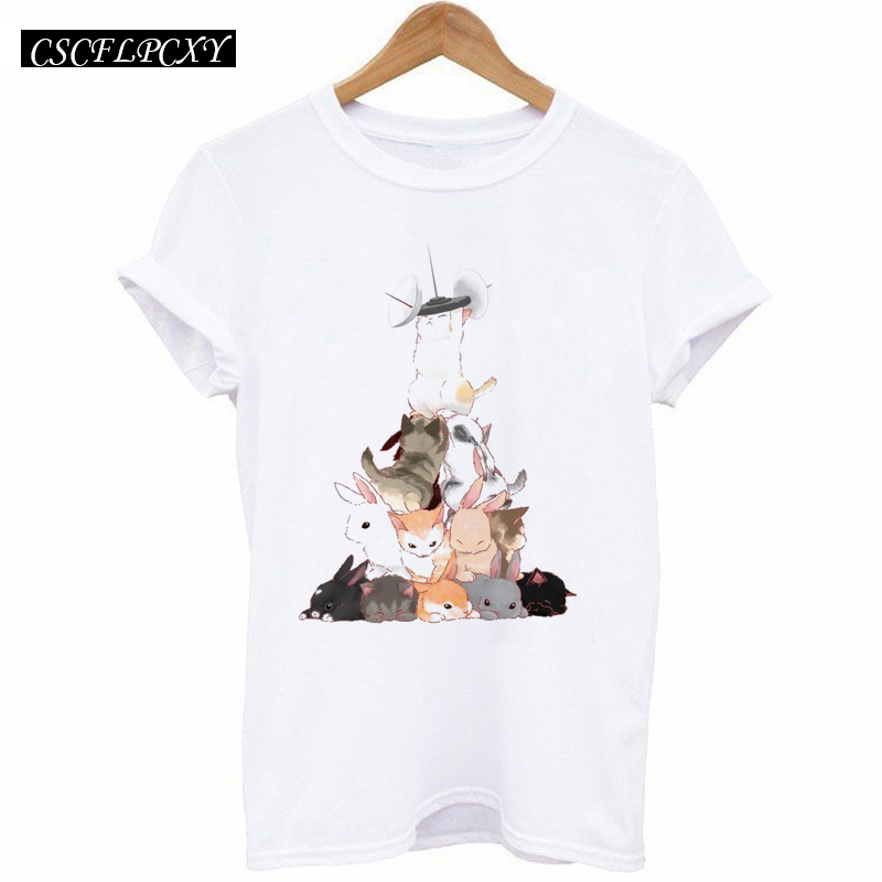 HTB1o4ztdWLN8KJjSZFvq6xW8VXal - 2017 Casual T-shirt Women Tshirt Short Sleeve Kawaii Elephant Print Camisetas Mujer Tops Tee Shirt Female O-neck White Tees