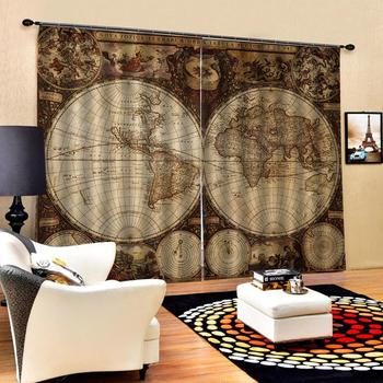 map curtains 3D Blackout Window Curtains For Living Room office Bedroom Drapes Cortinas Blackout curtain