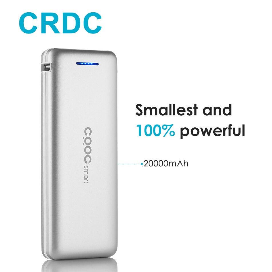 CRDC Power Bank 20000 mAh mi ni batería externa para xiaomi mi 7 5 cargador portátil para el teléfono rápido USB Dual powerbank para iPhone X