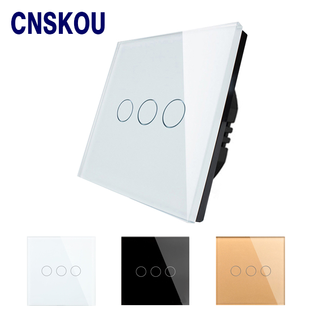 Free shipping Touch Switch Power EU standard 3 gang 1 way, Crystall Glass Wall Switch, 220v Light Switch Control Lamp smart home touch switch power switch eu standard black 3 gang 1 way crystal glass wall switch 220v light switch control led
