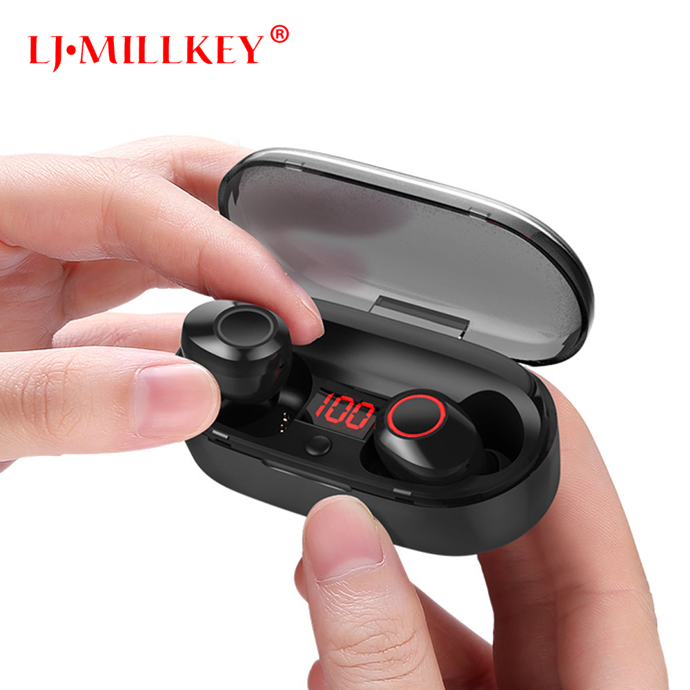 Volume Control TWS Bluetooth Earphone Stereo Music In-ear Type V50 IPX7 Waterproof True Wireless Earbud with Charging box YZ211
