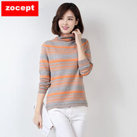 zocept Fashion Women's Clothing Winter Cashmere Blend Striped Sweater Female Turtleneck Sweaters Full Sleeve Knitted Pullovers
