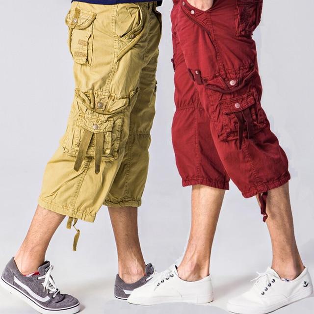 2019121cbe6 42 40 Plus Size Fashion Multi Pocket Cotton Loose Capri-Pants-Men Long  Cargo Shorts Baggy 3 4 Pant Red Khaki Olive Green Grey