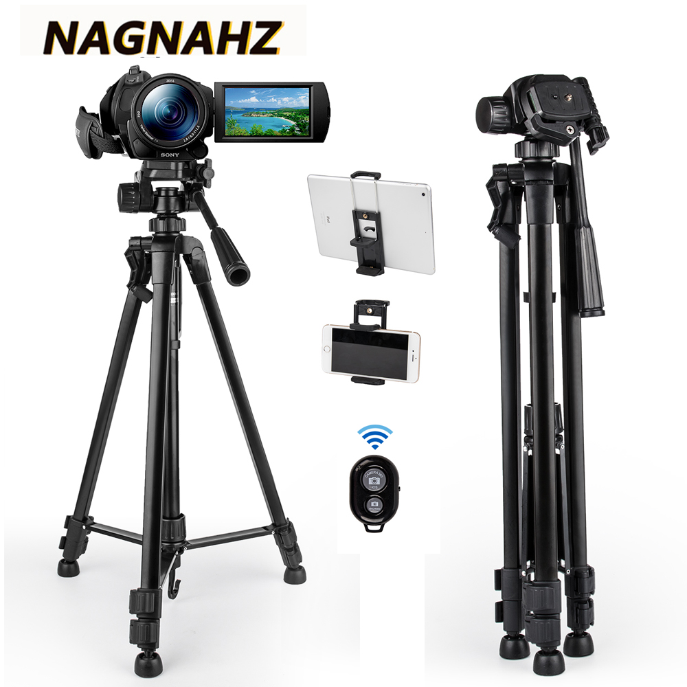 Video Camera Tripod Professional PortableTravel Photography Stand With Phone Holder For Canon IPhone IPad HUAWEI Mobile Tripode