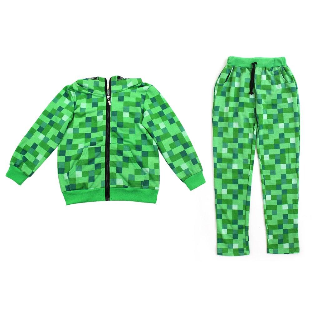 Halloween Purim day Children Boys Minecraft Halloween Costume Teen Autumn Funny Green Zip-Up Hoodie Sweatshirt Suit For Kids