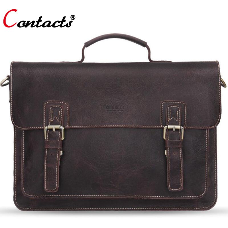 CONTACT'S Genuine Leather Bag Men leather briefcase Men's bag Briefcase Laptop Male Messenger Shoulder Crossbody Bags Handbags xiyuan genuine leather handbag men messenger bags male briefcase handbags man laptop bags portfolio shoulder crossbody bag brown