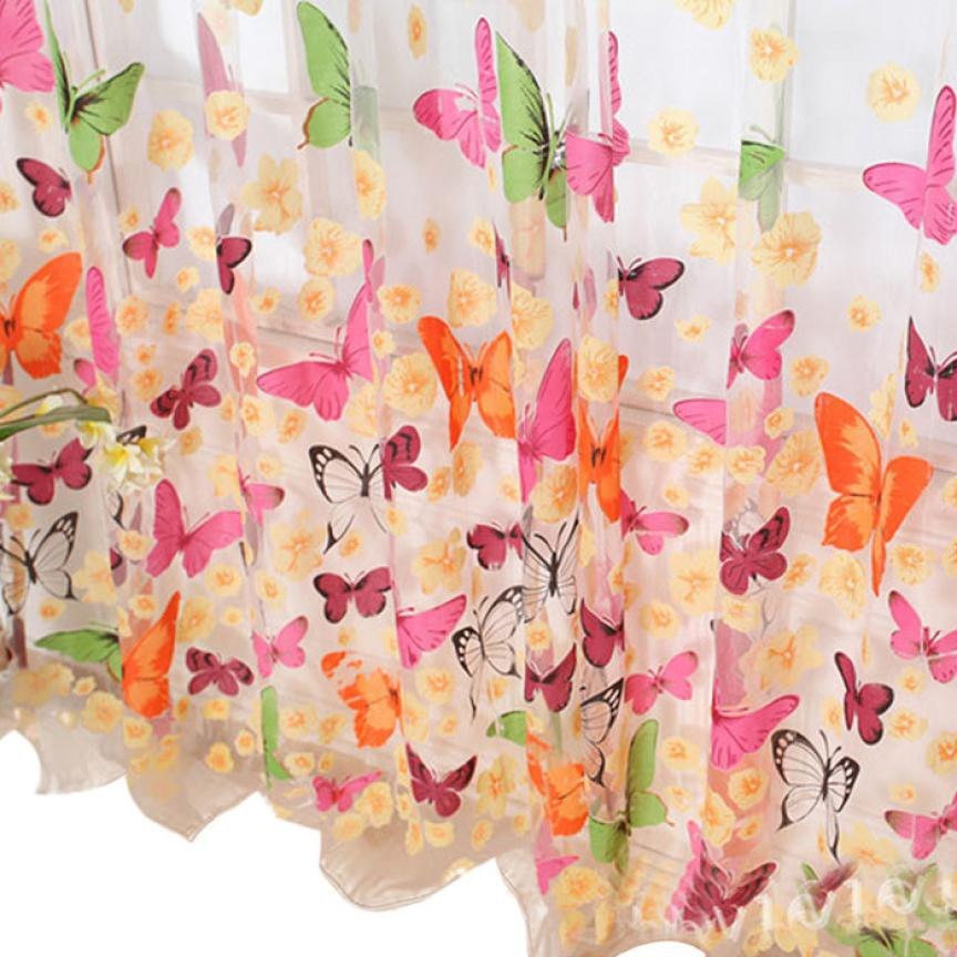 1 Pcs Heißer Schmetterling Drucken Sheer Fenster Tür Vorhang Für Wohnzimmer Schlafzimmer Mädchen Vorhänge Dekorative Valance 200x 100 Cm #007