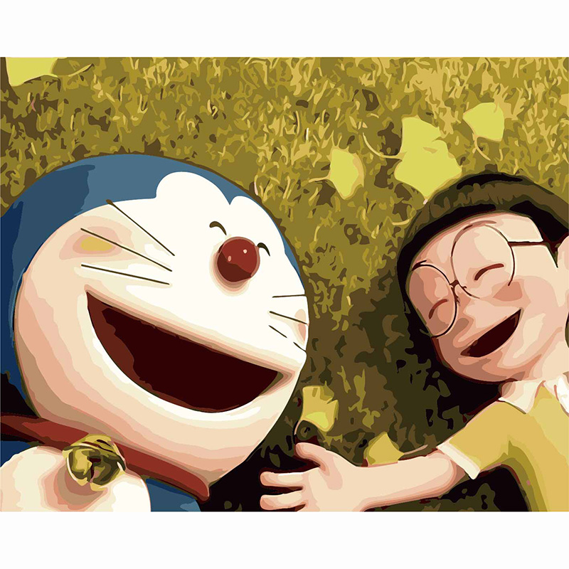 animation Doraemon A Dream Bear and Ding Dang cats DIY Painting By Numbers Hand Painted Oil Painting For Wall Art