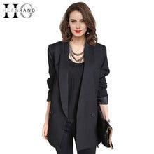 Hee Grand/Мода 2017 г. цвет: черный, синий Повседневное Блейзер Для женщин средней длины одной кнопки плюс Размеры XXL пиджак блейзер feminino WWX309