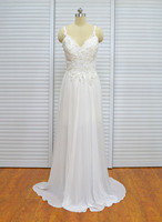 Vintage Lace Backless Bridal Dresses A Line V Neck Chiffon Long Spaghetti Straps Beach Wedding