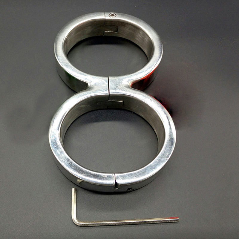 Buy 8-shaped stainless steel bondage hand cuffs bdsm fetish wrist restraints handcuffs adult games slave sex toys couples