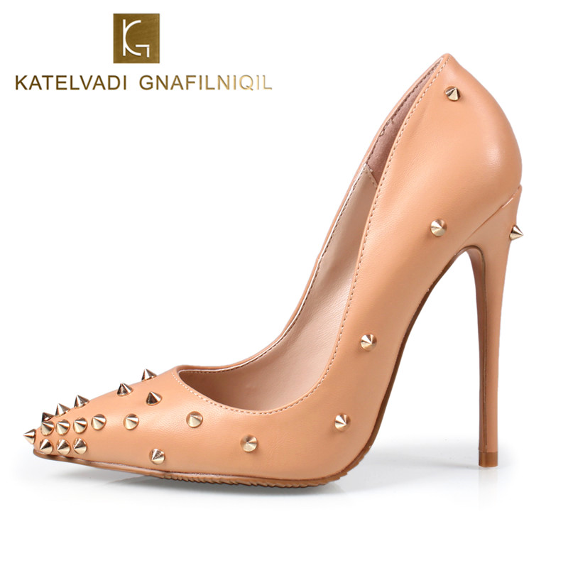 Sexy Shoes Woman High Heels Beige Wedding Shoes Pumps Rivets Pointed Toe Women Shoes 12CM Heels Woman Pumps Ladies Shoes K-010 shoes woman 12cm high heels gold shoes women pumps pointed toe ladies wedding shoes thin heels glitter shoes zapatos mujer f 008